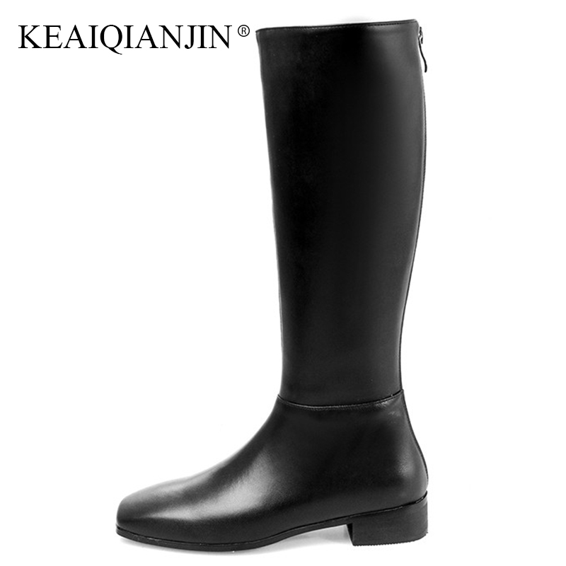 dbc24b32a466bb KEAIQIANJIN Winter Fashion Knee High Boots Black Zipper Woman Flat Shoes  Plus Size 33 41 Genuine Leather Chelsea Knee High Boots