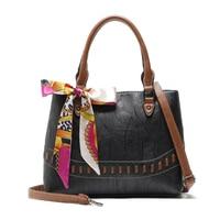 Homeda Woman Handbag Vintage PU Leather Crossbody Bags Bowknot Large Capacity Tote Bag Messenger Bag Bolsa