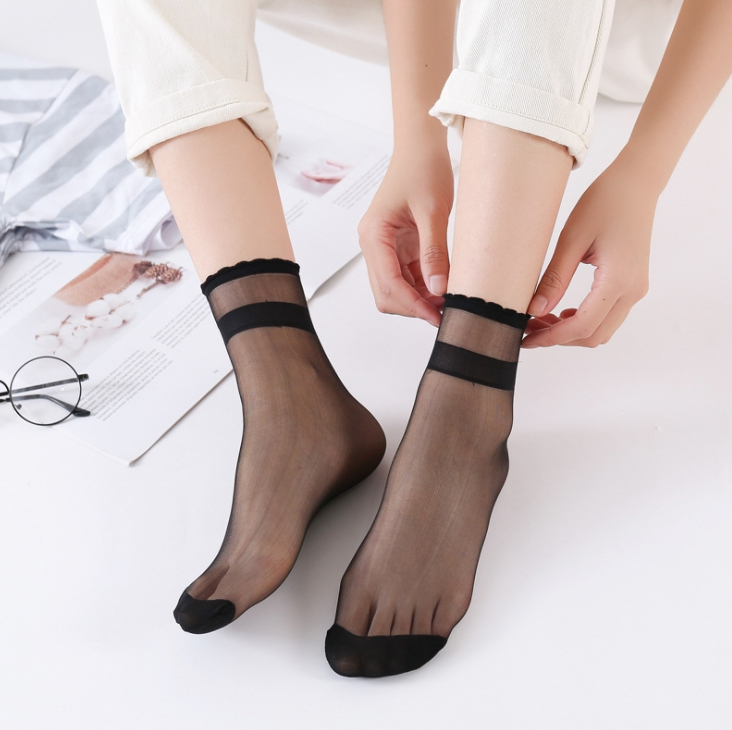 5pairs Women Socks Nylon Elastic Short Ankle Sheer Silk Short Socks Summer Socks Invisible Sock