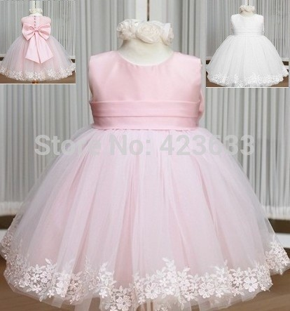 Ball-Gown-Scoop-Pink-White-Organza-Flower-Girl-Dress-With-Bow-2015-New-Arrival-Girl-Party