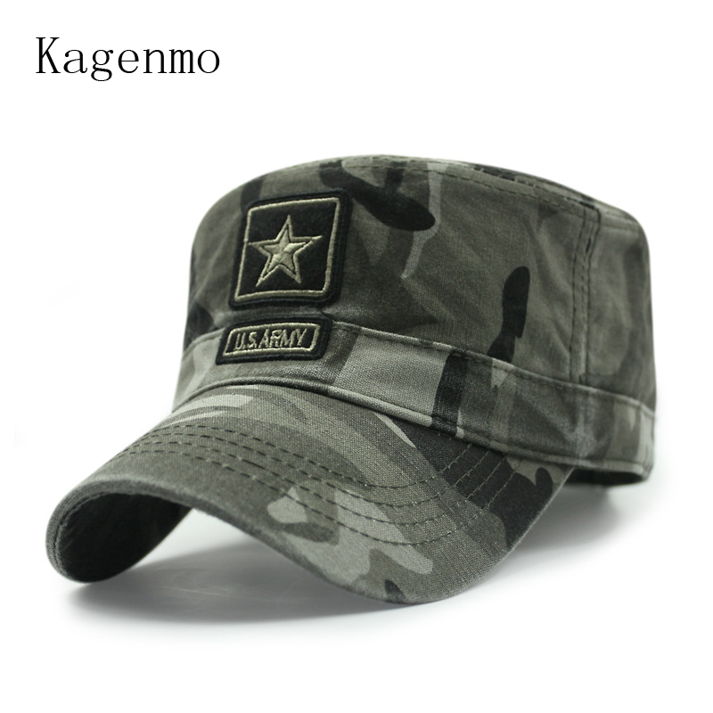 Kagenmo New Style Cotton Spring And Summer Camouflage Army Hat Fashion Flat Top Military Hats Male Female Baseball Cap