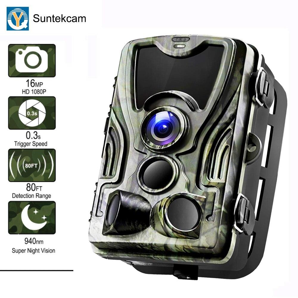 Suntekcam HC-801A 2019 Date Chasse Caméra 16MP 64 GB Trail Caméra IP65 Photo Pièges 0.3 s Temps de Déclenchement 850nm Sauvage caméra Piège