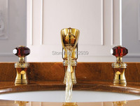 Free ship ROMAN SINK FAUCET BATHROOM MIXER TAP Widespread Basin Lav sink Faucet Waterfall Gold Mixer Tap crystal handles New