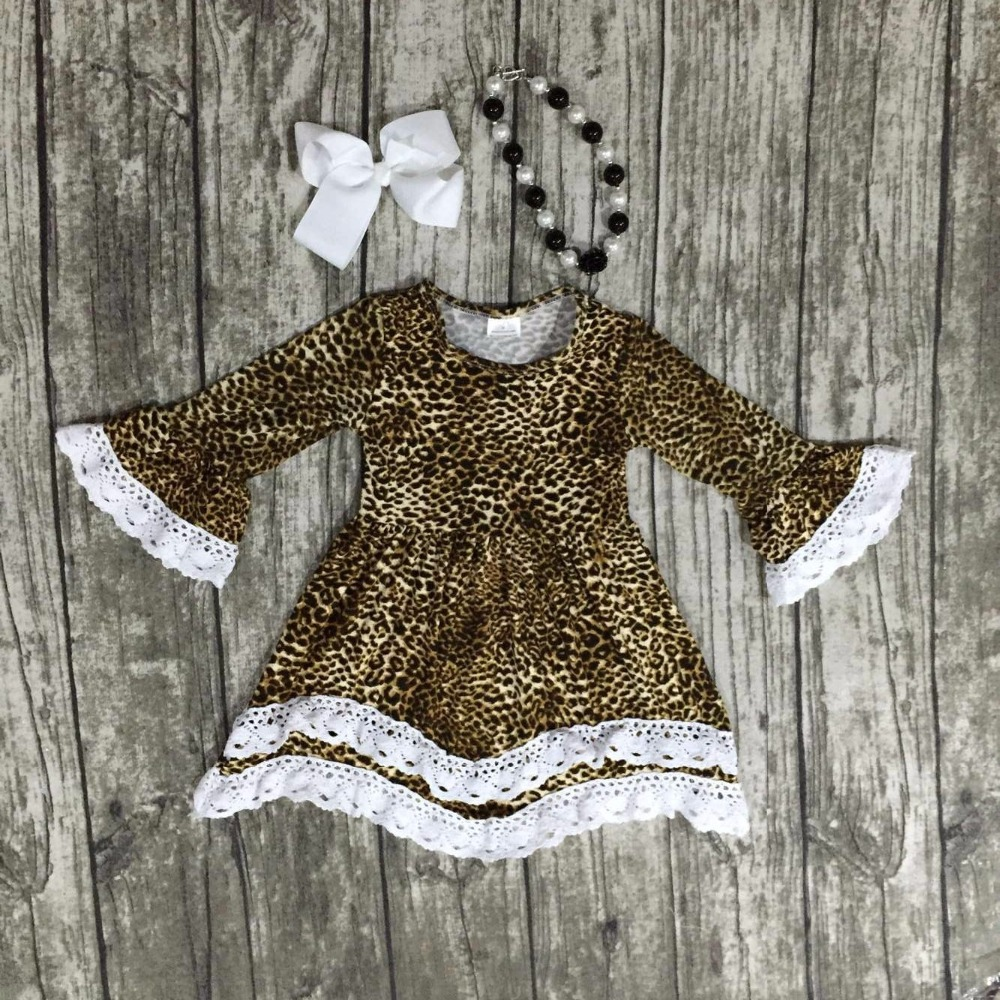girls clothes baby kids cotton Fall Winter lace print  Leopard dress boutique long sleeve with matching necklace and bow set women s voile color matching off breast lace bordered bow tie leopard pattern alluring baby doll