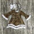 Ropa de las muchachas del bebé niños de algodón Otoño Invierno cordón de la impresión vestido de Leopardo con encanto manga larga con el collar a juego y conjunto arco