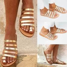 Summer 2019 Women Flat Sandals  Gladiator Ladies Strap Slippers Roman Female Flip Flops Outdoor Casual Sandales Femme