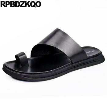 black slip on toe loop designer open men sandals leather summer outdoor slides shoes 2019 waterproof fashion slippers water