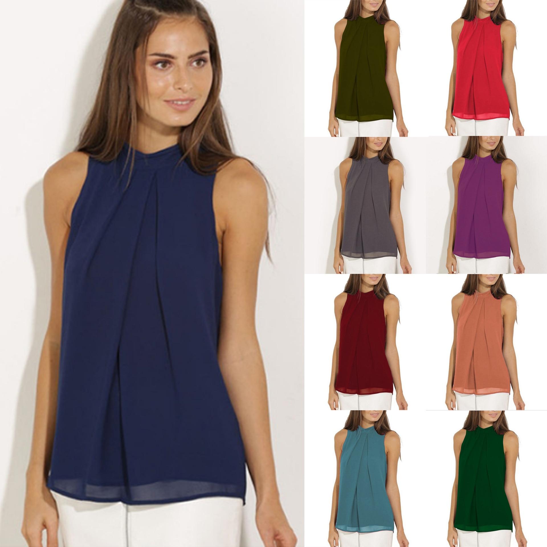 7db29959656 Лидер продаж Летние шифоновые рубашки с вырезом и без рукавов Женские топы  и блузки