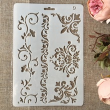 Buy New 26cm Floral Frame Edge DIY Craft Layering Stencils Painting Scrapbooking Stamping Embossing Album Paper Card Template directly from merchant!