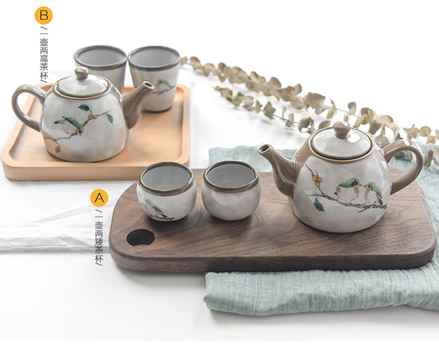 Japanese style  embroidered bird tea set