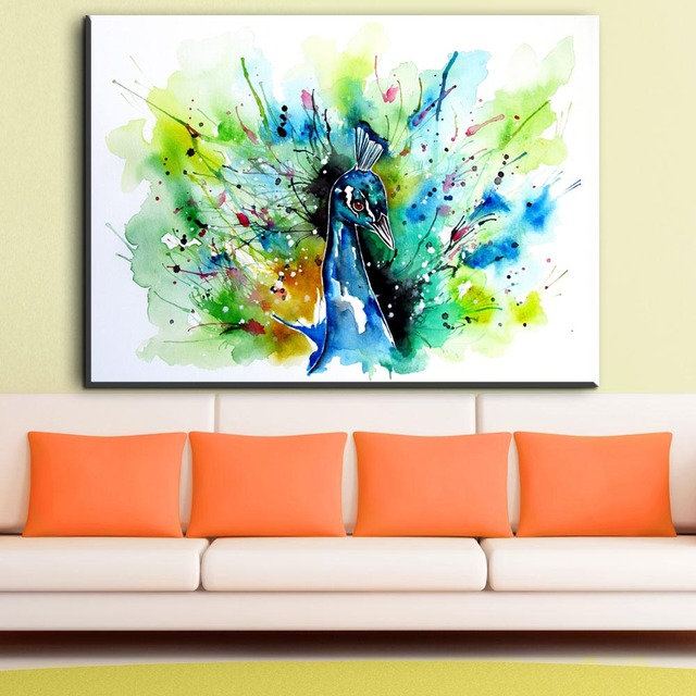 ZZ1348 einfache abstrakte leinwand kunst aquarell pfau vogel ...