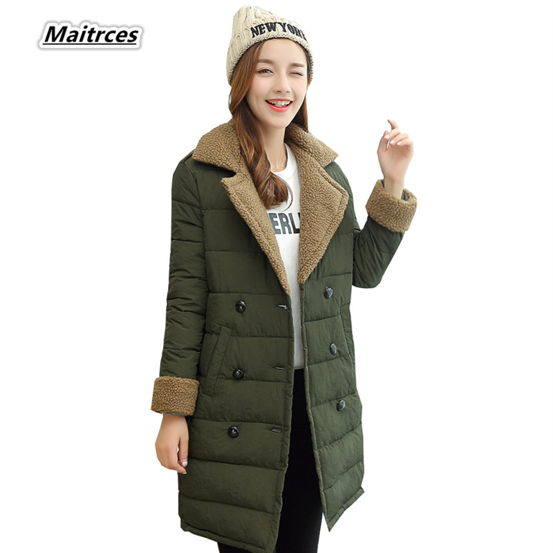 Winter Jacket Women Thick Cotton Woolen   Parka   Ladies Slim Warm Jacket 2018 NEW Fashion Large Size Female Coats MF014