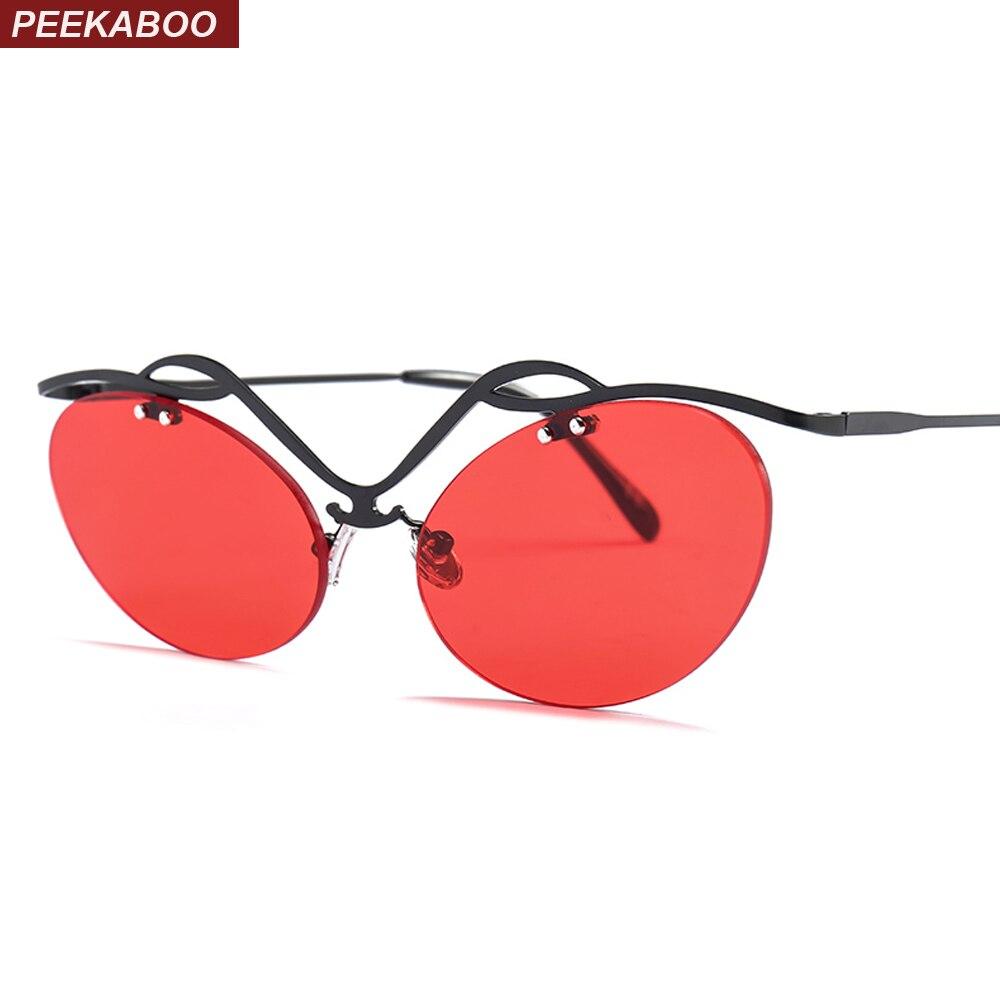 Peekaboo olho de gato do vintage óculos de sol colorido doce cor preto  vermelho verde metade ec909334f0