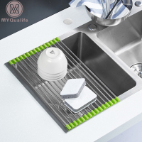 Free Shipping Roll Up Folding Stainless Steel Drainer Rack Colander Over Sink Drying Tray For Kitchen
