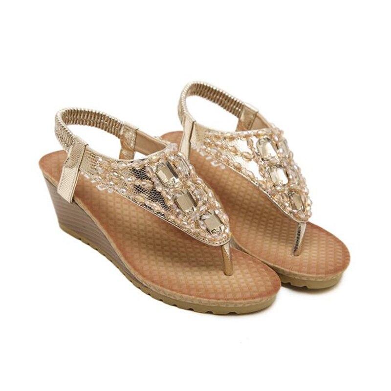 Mujer Con plata Flop Bohemia S193 Sandalias Rhinestone Pendiente Oro Zapatos Mujeres Zapatillas Flip Las De 2017 SEIqI