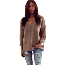 Womens Long Sleeve V-Neck Pullover Jumper Cardigan Ladies Loose Sweaters Winter Warm Femme  Vestidos