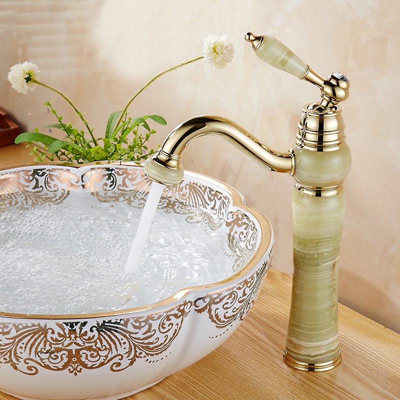 Bathroom Basin Faucets Jade Gold Washbasin Tall Taps Faucet Vanity