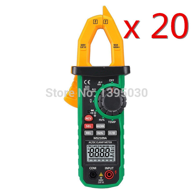 ФОТО Hot Sale  20PCS/Lot MS2109A True RMS Digital AC DC Clamp Meter 600A Ohm HZ Temp NCV RC Test Tester