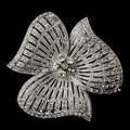 "2.2"" Classic Three Petals CZ Rhinestone Crystal Diamante Floral Wedding Brooch Vintage Style Rhodium Silver Tone"