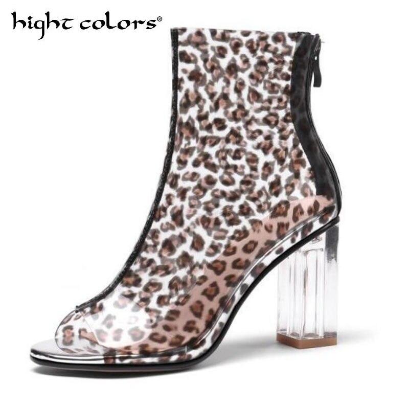 Sexy clair bottines pour femmes noir épais talon poisson bouche Transparent PVC bottes courtes romain Botas Mujer taille 34-43