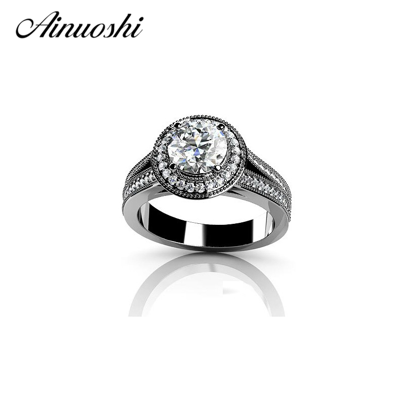 AINUOSHI 925 Sterling Silver 4 Prongs Engagement Rings Halo Sona Round Cut Women Wedding Anniversary Silver Ring mujeres anillos