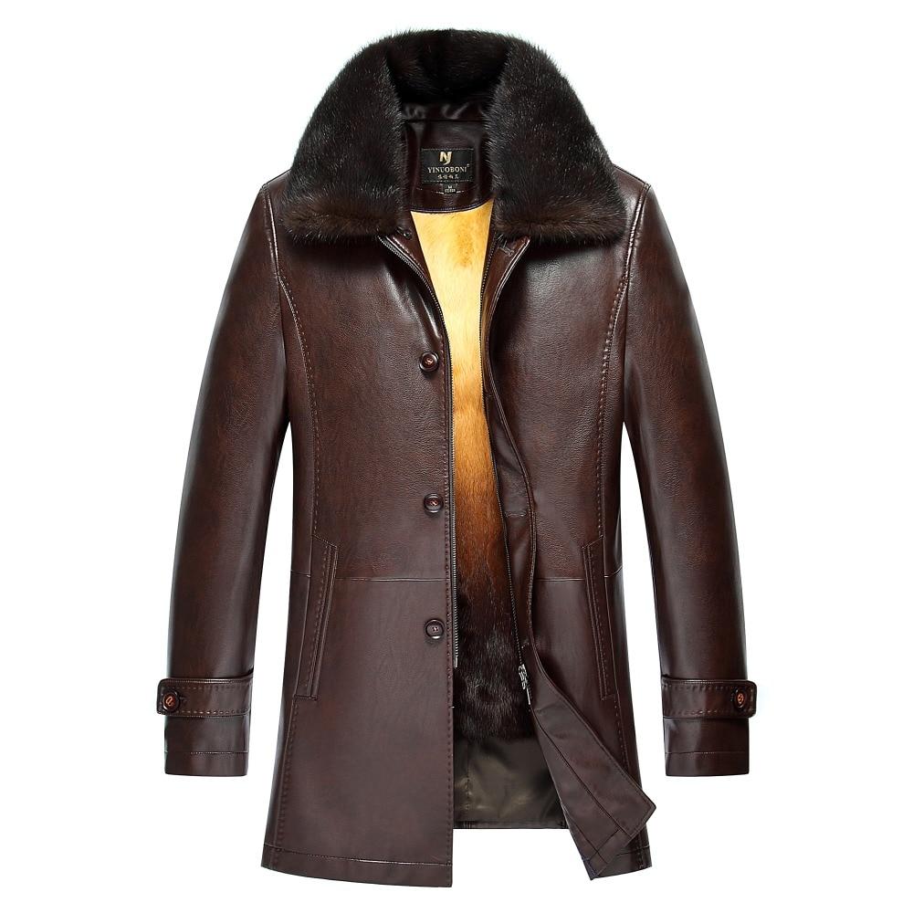 Зимнее утолщенное пальто из искусственной кожи, мужское длинное повседневное кожаное пальто с отложным воротником, теплая куртка, пальто