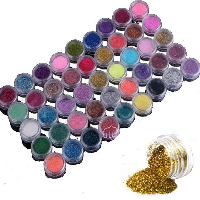 Профессиональные 45 Цветов Nail Art Порошок Пыли Make Up Шинни Shimmer Блеск Ногтей Украшения Советы Набор Комплект Оптовая Ногтей Инструменты