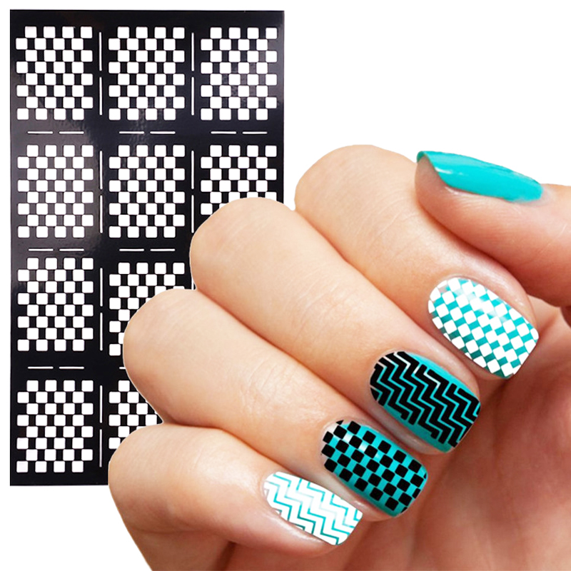 1Pcs Stamping Nail Art Stencils Stickers Hollow Plates Template ...
