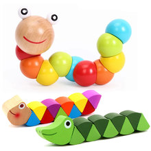 Colorful Insects Puzzles Kids Educational Wooden Toys Baby Children Fingers Flexible Training Science Twisting Worm Toy CL2062H