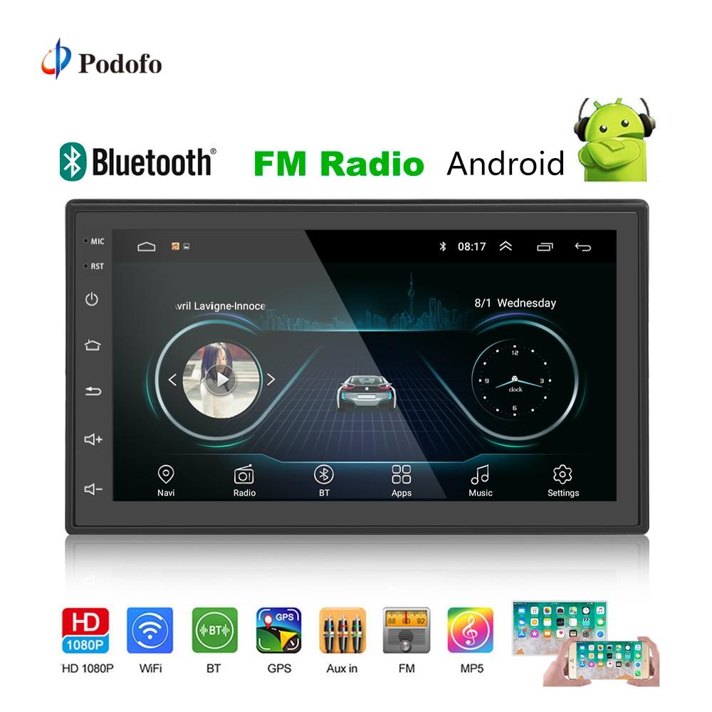Podofo 2din автомобиля радио Android gps; Мультимедийный проигрыватель Авто 2 Din 7 ''сенсорный экран Bluetooth FM Wi Fi аудио плеер стерео