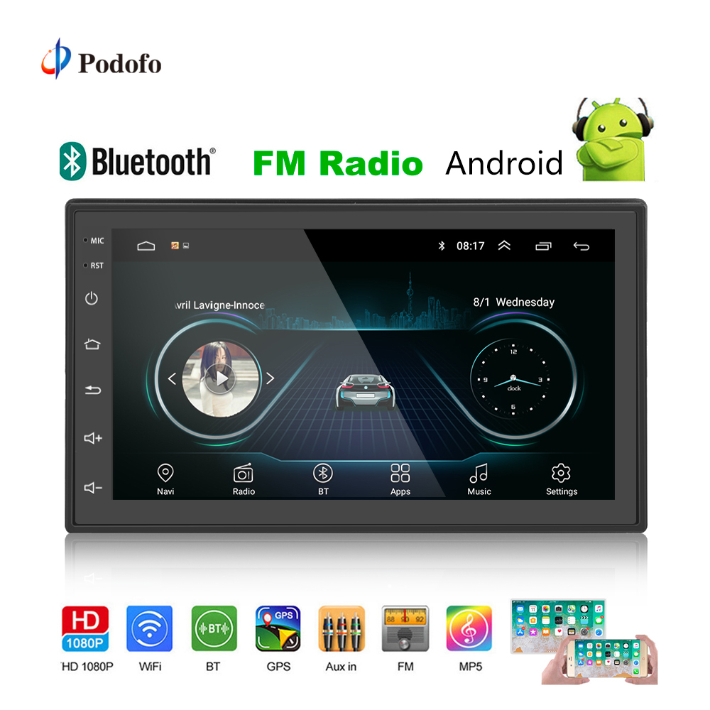 Podofo 2din Auto Radio Android GPS Multimedia-Player Autoradio 2 Din 7 ''Touch Screen Bluetooth FM WIFI Auto Audio player Stereo