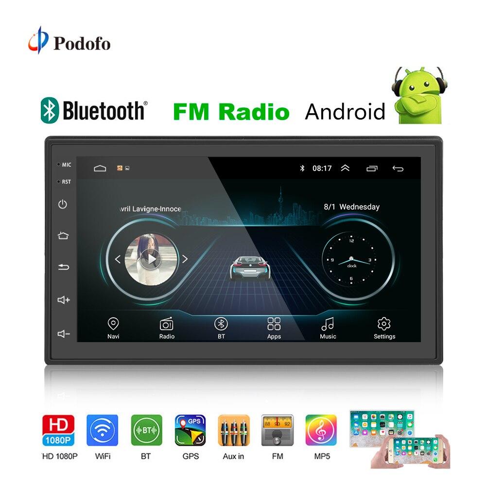 Podofo 2din Auto Radio Android GPS Multimedia-Player Autoradio 2 Din 7 ''Touch Screen Bluetooth FM WIFI Auto Audio player Stereo