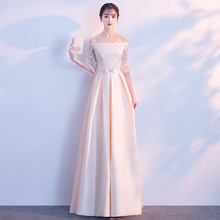Dress Bridesmaid-Dress Word-Shoulder Elegant Summer New One No Banquet Long-Section Noble
