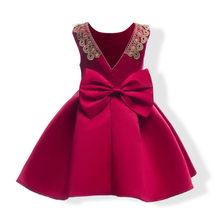 O vestido da menina elegante nobre senhora gravata borboleta vestido de princesa Europeia para 3-10yrs meninas crianças dos miúdos do partido jantar vestido desempenho
