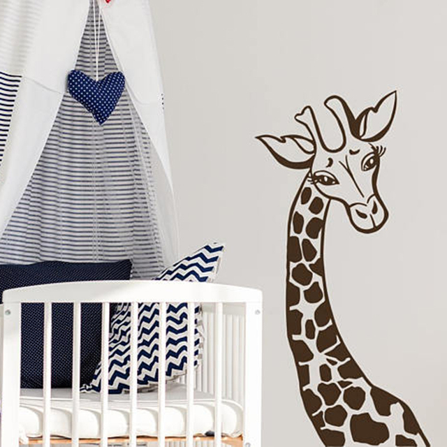 US $8.98 15% OFF|Giraffe Wall Decal Cute Animals Wall Stickers For Nursery  Kids Baby Bedroom Wall Decor Art Mural Home Decoration Wallpaper L294-in ...