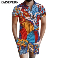 Hawaiian 3D Funny Floral Print Rompers Men Short Sleeve Jumpsuit Playsuit Harem Cargo Overalls Summer Men set One Piece Dropship
