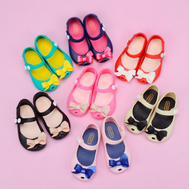 2018 summer Mini Melissa Bow children Jelly Shoes Sandals Girls ballet Shoes kids soft Sandals 13-17cm