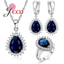 JEXXI Top Quality Waterdrop Pendant Necklace Huggie Hoop Earrings Rings 3PC Jewelry Set 925 Sterling Silver Gift for Women Bride