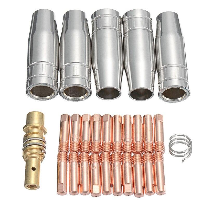 27 stücke MB-15AK MIG/MAG M6 Schweißen Weld Taschenlampe Kontaktspitzen 0,6/0,8/1,0mm Halter Gas düse Verbindungsstange Konische Düse Schutzgasdüse