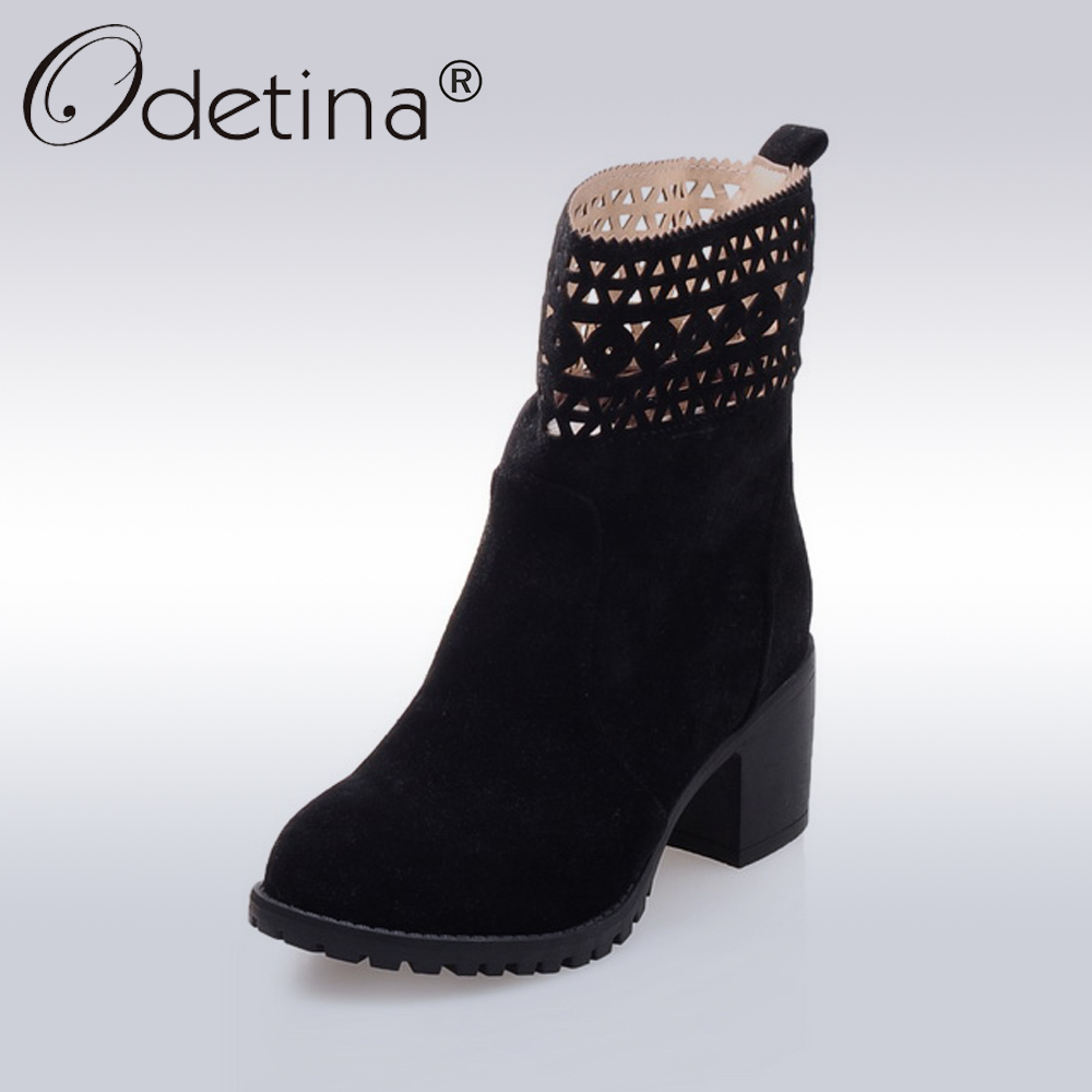 Odetina Sexy Hollow Out Ankle Boots Women 2017 Autumn Fashion Suede Boots Ladies Square High Heels Motorcycle Boots Plus Size high quality genuine leather women shoes spring and autumn high heels women boots hollow out lace ladies fashion boots