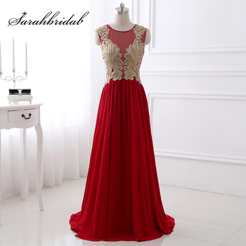 Real Photos Gold Lace Beading Appliques Evening Dresses Illusion Red Chiffon A-Line Beauty Prom Party Gown Custom Made SD405