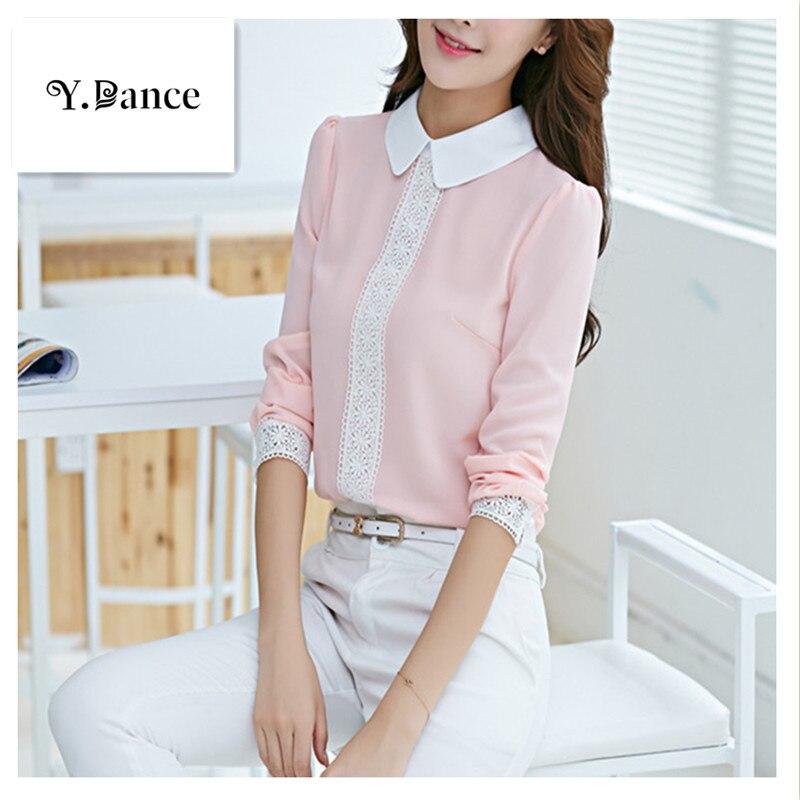2017 New Autumn Peter pan collar chiffon blouse, Womens long sleeve Lace Crochet top blouses, women pink blusas shirts