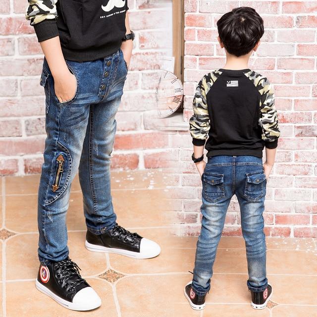 Бесплатная доставка, детские джинсы весна и осень Дети детские брюки Slim двигаться Мальчиков джинсы, мальчик молнии джинсы.