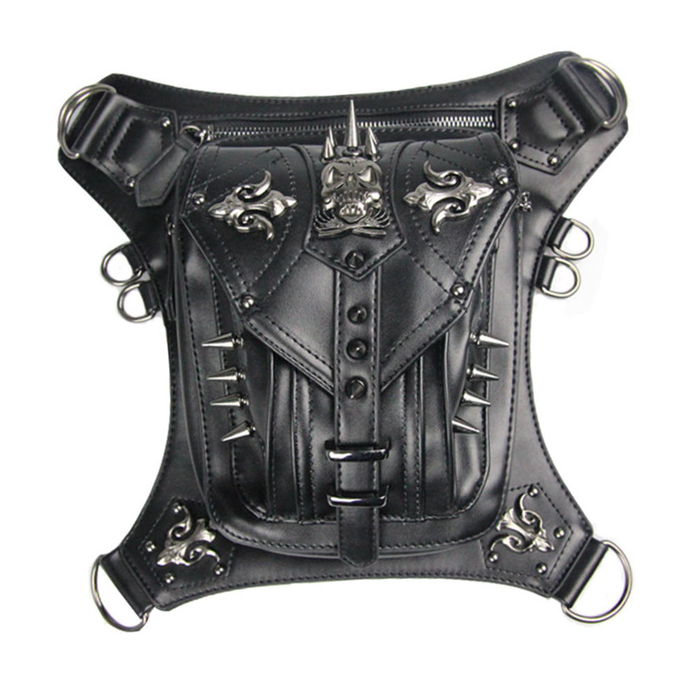 Motorcycle Bag Female Male Black Pu Leather Rivet Leg Pack Motorcycle Riding Cool Personality Travel Outdoor Wallet