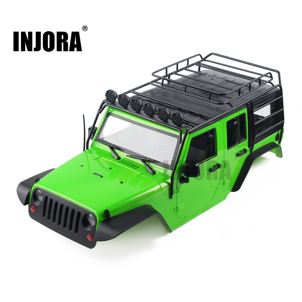 INJORA 7 Color Available 313mm Wheelbase Body Shell+ Metal Roof Rack for 1/10 RC Crawler Axial SCX10 SCX10 II 90046 rc car crawlers frame bracket for axial scx10 adjustable wheelbase 313mm 305mm 290mm