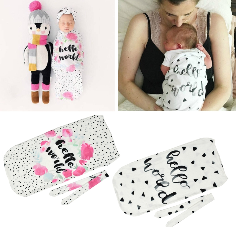 2 Pcs Infant Newborn Toddler Swaddle Blanket Baby Sleeping Case Bag Headband Hello World Letter Print