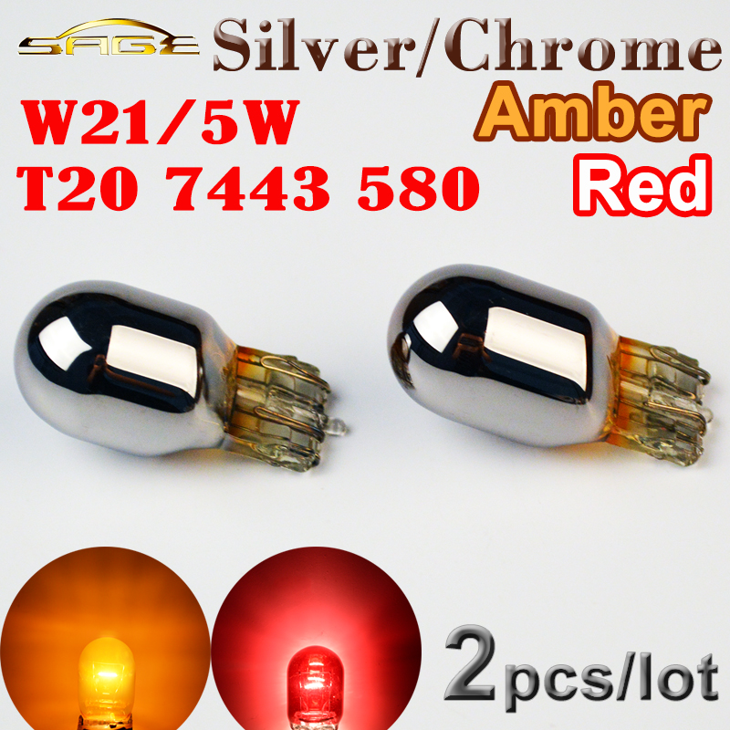 flytop (2 Pieces/Lot) W21/5W T20 580 Silver / Chrome Amber Red Light Glass 7443 12V 21/5W Bulb W3x16q Car Lamp 5 pieces lot tda3653b