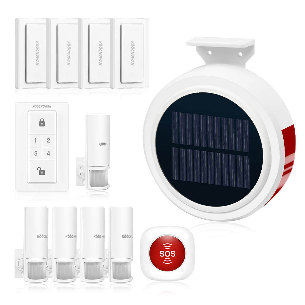 KOOCHUWAH Wireless Home Alarm Solar Energy Home Security System Outdoor Solar Alarm Kit GSM with PIR Detector and Door Sensor