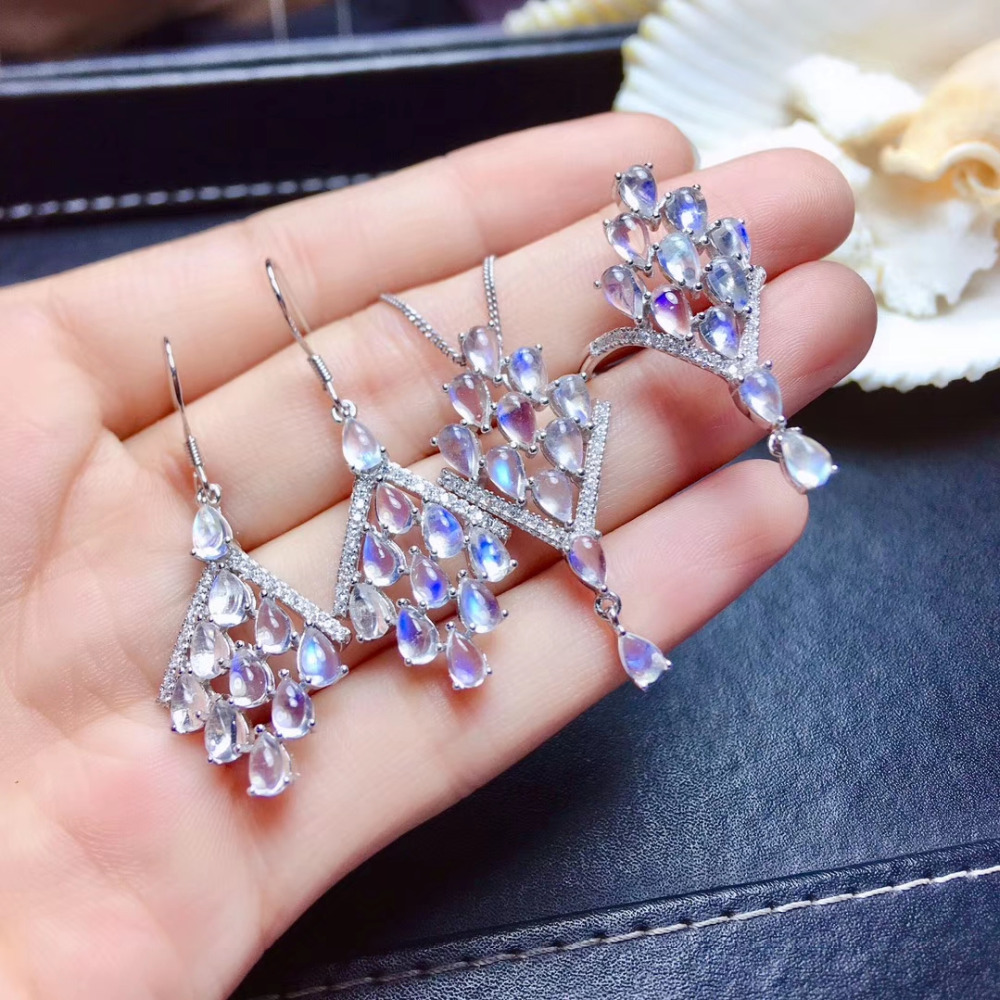 Natural blue moonstone jewelry sets natural gemstone pendant ring earrings 925 silver fashion Tassels Leaf women party jewelry