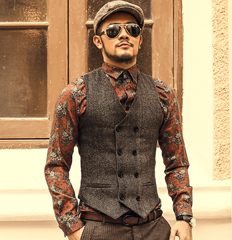 Mens Double Breasted Vest Men Dress Suit Vest Men Formal Grey Vest Suit Gilet Vest Slim Business Jacket Tops homme 2016 spring